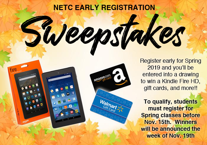Ad for registration sweepstakes Fall 2018